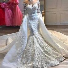 Vestidos de novia sirena con apliques de lujo 2020 cuello redondo mangas largas con cuentas desmontable tren Vestido de novia