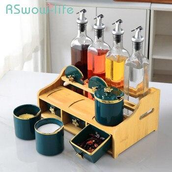 Light Luxury Emerald Ceramic Jars Kitchen Spice Box Set Household Oil Bottle Vinegar Combination Seasoning Jar + Rack Candy Jar