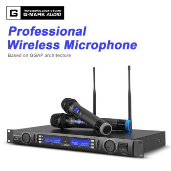 skm9000 100 m uhf wireless microphone professional karaoke system dual cordless mic 2 channel receiver ktv microfono inalambrico G-MARK Wireless Microphone system Dual Channel Receiver 150M Distance two Handheld mic Infrared automatic frequency matching