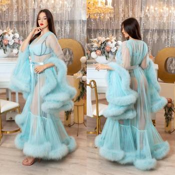 Blue Women's Kimono Pregnant Party Sleepwear Sexy Faux Fur Lady Bathrobe Sheer Nightgown Robe Prom Bridesmaid Shawel 2020 New - discount item  15% OFF Wedding Accessories