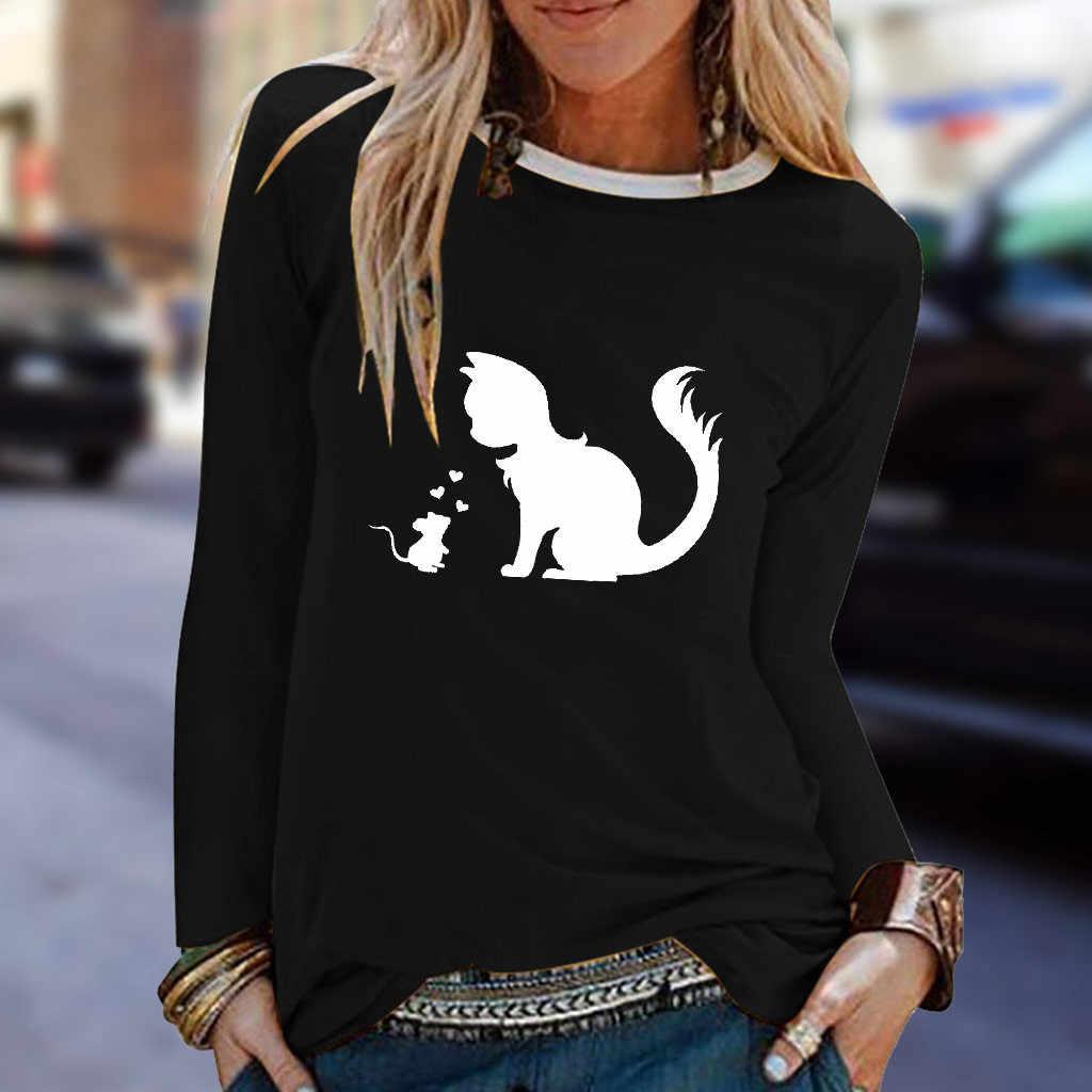 2019 Tシャツ女性カジュアル猫プリント O ネック長袖 Tシャツオー Camiseta Mujer トップ Tシャツを原宿 poleras