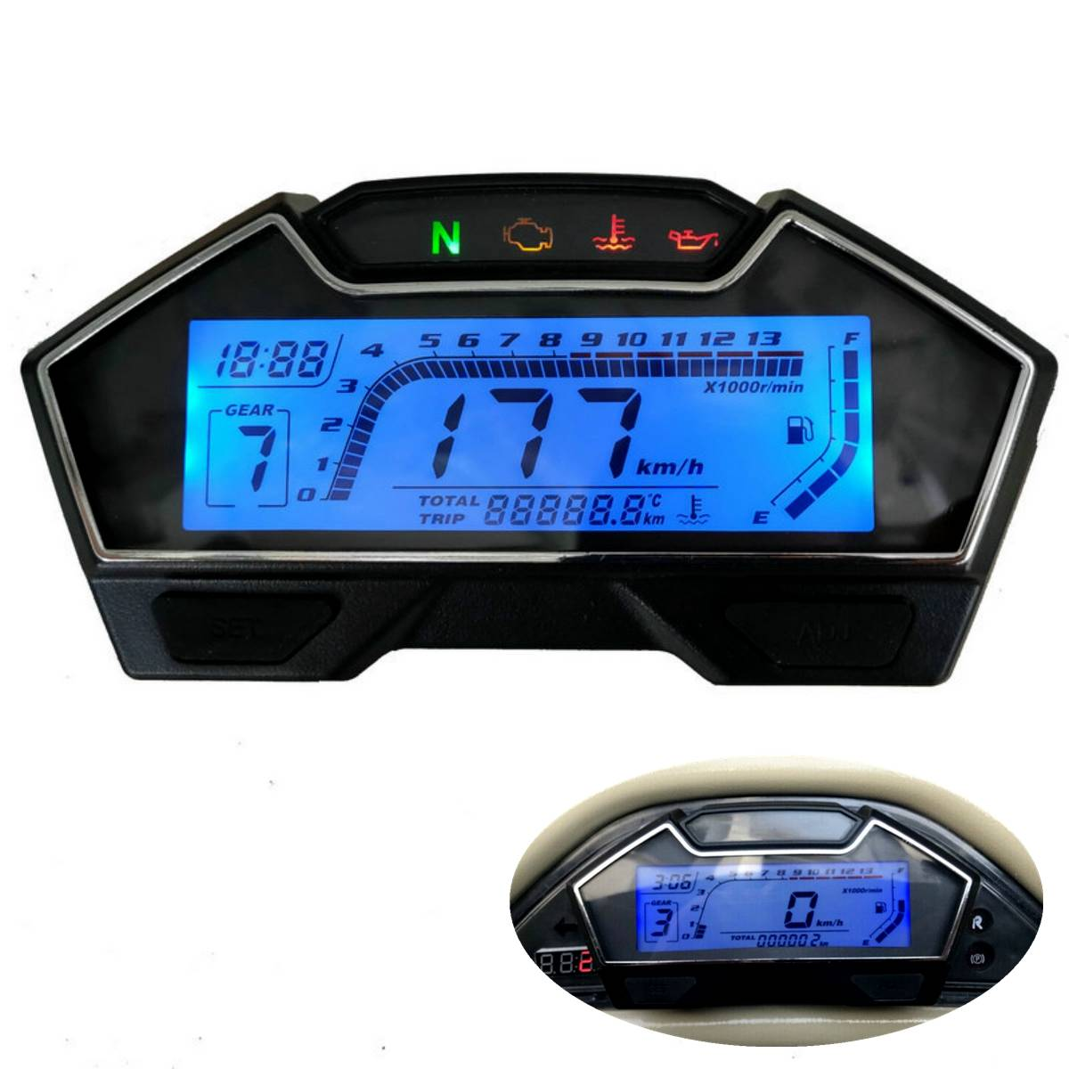 NEW Universal LCD Speedometer Digital Backlight Odometer For <font><b>1</b></font>,<font><b>2</b></font>,4 Cylinders Motorcycle For Ducati for Kawasaki for Yamaha image