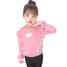 Heart Knit Sweater for Girl Thin Style Ruffle Long Petal Sleeve Sweater with Heart Kids Girl Pullover Cheap Fashion Baby Clothes