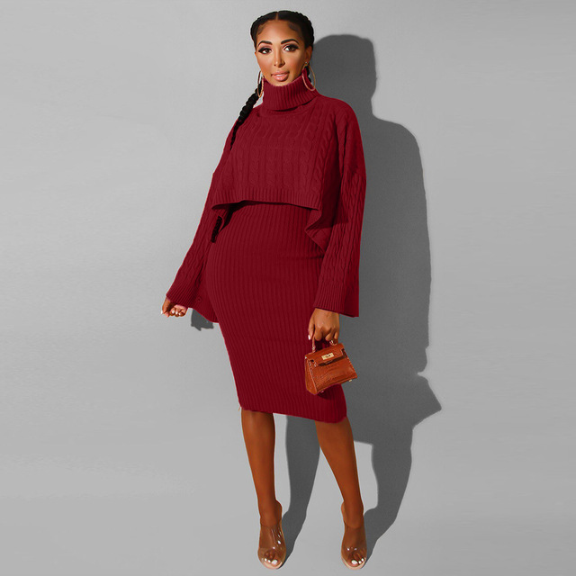 Autumn Winter 2020 Outfits Tracksuit Knit Women Sets Elegant Turtleneck Sweater and Sleeveless Dress Sexy Two Piece Set Femme