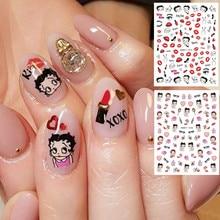 Новая девушка серии Ханьи-75-420 ручной мультфильм красочный дизайн 3D ногтей наклейки наклейка аксессуары