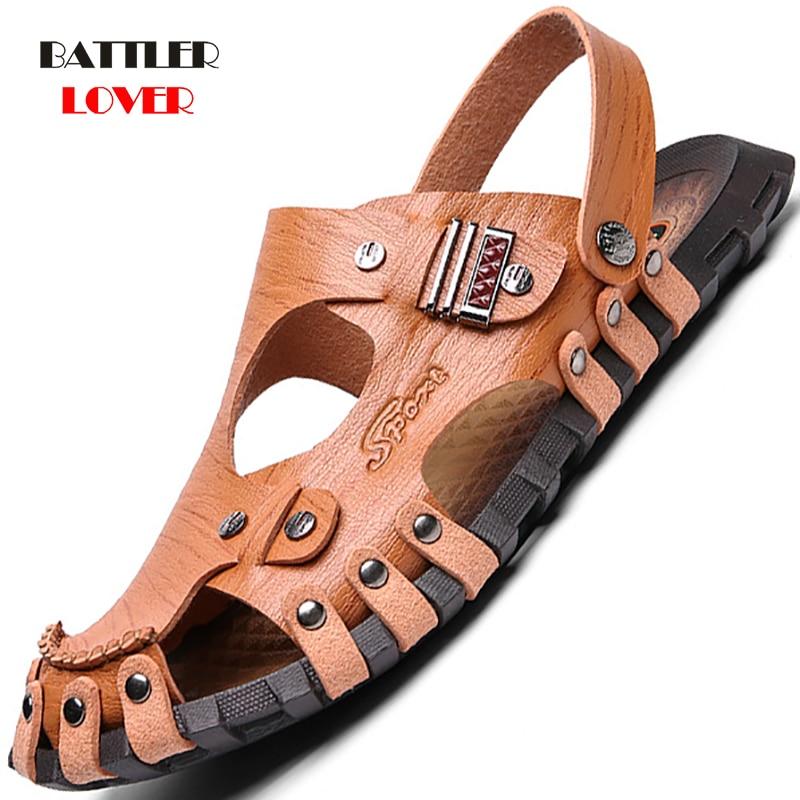 Summer Men Sandals Genuine Leather Mens Beach Sandals Brand Men