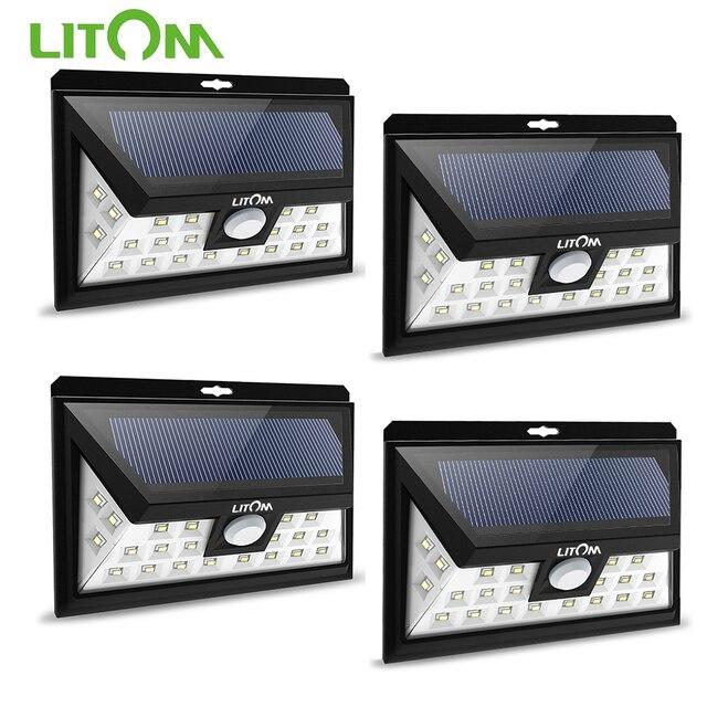 LITOM CD013 24 LED ضوء الشمس محس حركة زاوية واسعة LED مصباح حديقة ساحة الجدار تعمل بالطاقة الشمسية في الهواء الطلق ضوء 3 أوضاع قابل للتعديل