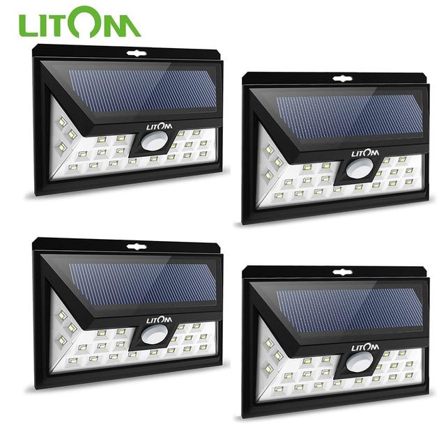 Litom cd013 24 led 태양 광 모션 센서 와이드 앵글 led 램프 정원 야드 벽 태양 광 전원 야외 조명 3 조절 모드
