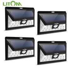 Litom cd013 24 led sensor de movimento luz solar grande angular lâmpada led jardim quintal parede solar powered ao ar livre luz 3 modos ajustáveis