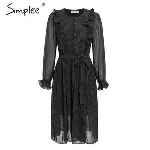 Image 3 - Просто, элегантно женское платье в горошек шикарное Плиссированное длинное вечернее платье с оборками на рукавах Повседневная рабочая одежда женское осенне зимнее теплое платье