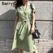 BerryGo Elegant ruffle green dress women High waist belt OL midi dress female vestidos Casual short sleeve office dress ladies