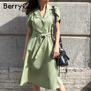 Image 1 - BerryGo Elegant ruffle green dress women High waist belt OL midi dress female vestidos Casual short sleeve office dress ladies