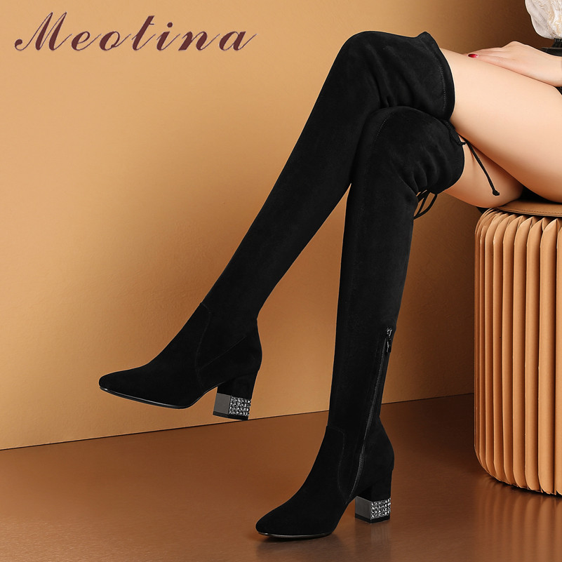 Meotina Real Leather Thigh High Boots Women Kid Suede Thick High Heel Over The Knee Boots Sexy Slim Zipper Shoes Lady Autumn 42