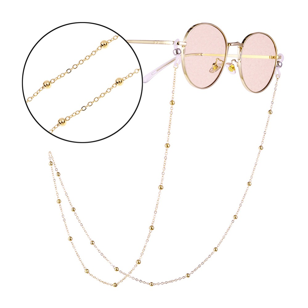 Fashion Womens Gold Silver Eyeglass Chains Sunglasses Reading Beaded Glasses Chain Eyewears Cord Holder neck strap Rope (2)