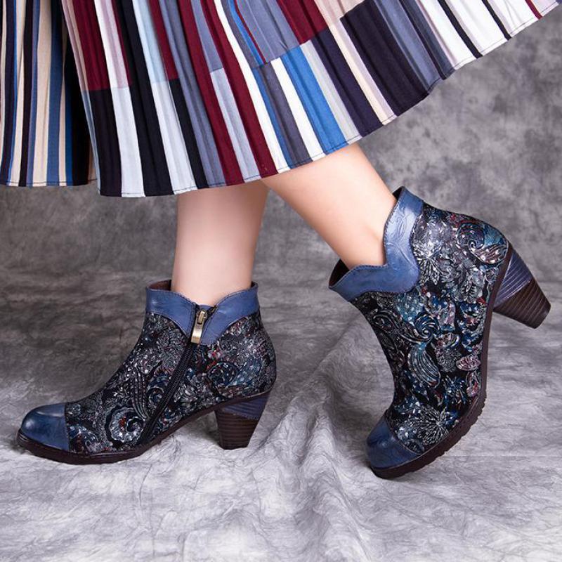 Johnature/ботинки из натуральной кожи на платформе с тиснением; Женская обувь; Новинка 2020 года; Сезон осень зима; Ботильоны смешанных цветов на молнии с круглым носком|Полусапожки|   | АлиЭкспресс