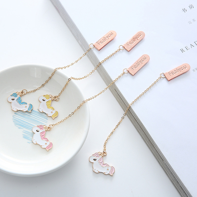 Creative Metallic Pendant Book Mark Cute Unicorn Bookmarks For Book Kids Girls Gift School Office Supplies Korean Stationery
