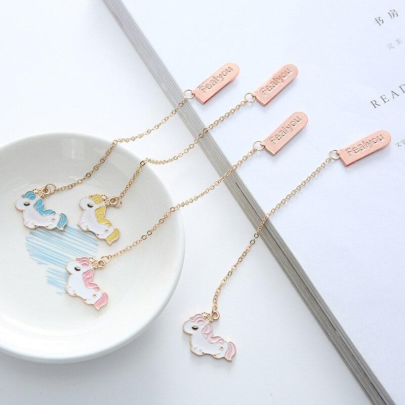 Creative Metallic Pendant Book Mark Cute Unicorn Bookmarks For Book Kids Girls Gift School Office Supplies Korean Stationery