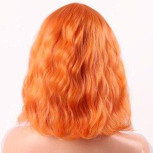 Image 2 - MERISI saç kısa su dalga sentetik saç turuncu kırmızı renkler mevcut peruk kadınlar için ısıya dayanıklı iplik günlük yanlış saç