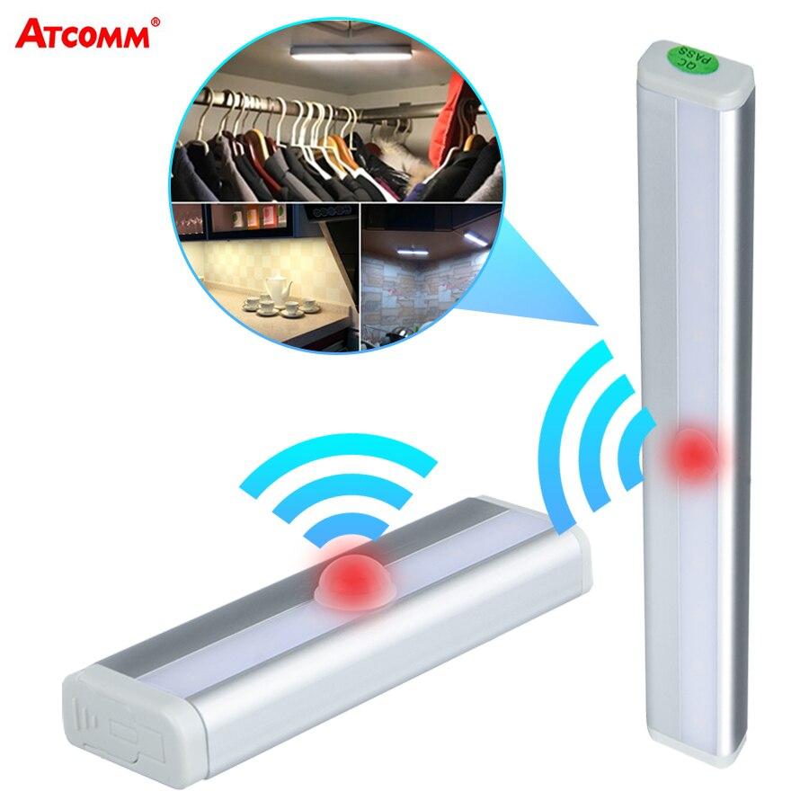10 diod led PIR Motion Sensor oświetlenie podszafkowe 4 AAA zasilany z baterii bezprzewodowy Smart OFF/ON lampka nocna oświetlenie awaryjne