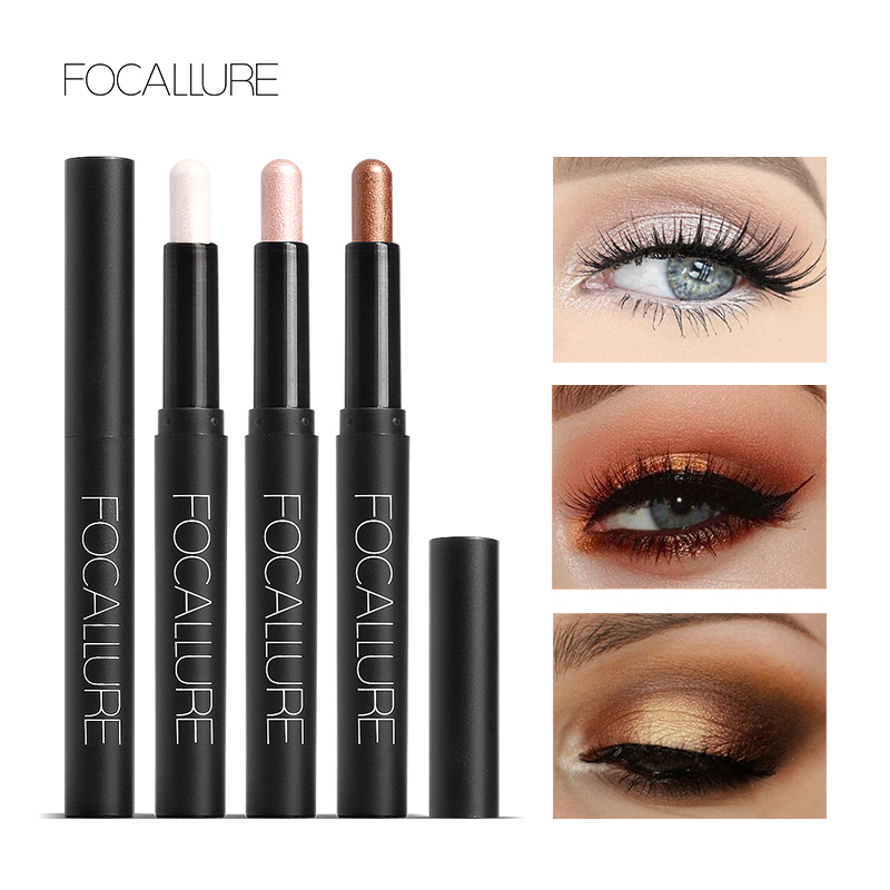 FOCALLURE Eyeshadow Stick Pro 12 Colors Eye Shadow Pencil Eyes Makeup Pen Easy To Wear Long Lasting Shimmer Cosmetics Tool
