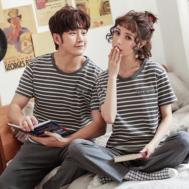 Couples 100% Cotton Short Sleeve Long Pants Casual Striped Pajamas Sets Women Summer Sleepwear Homewear Pijama Mujer Men Clothes