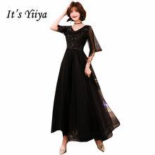 Женское вечернее платье в пол it's yiiya черное ТРАПЕЦИЕВИДНОЕ