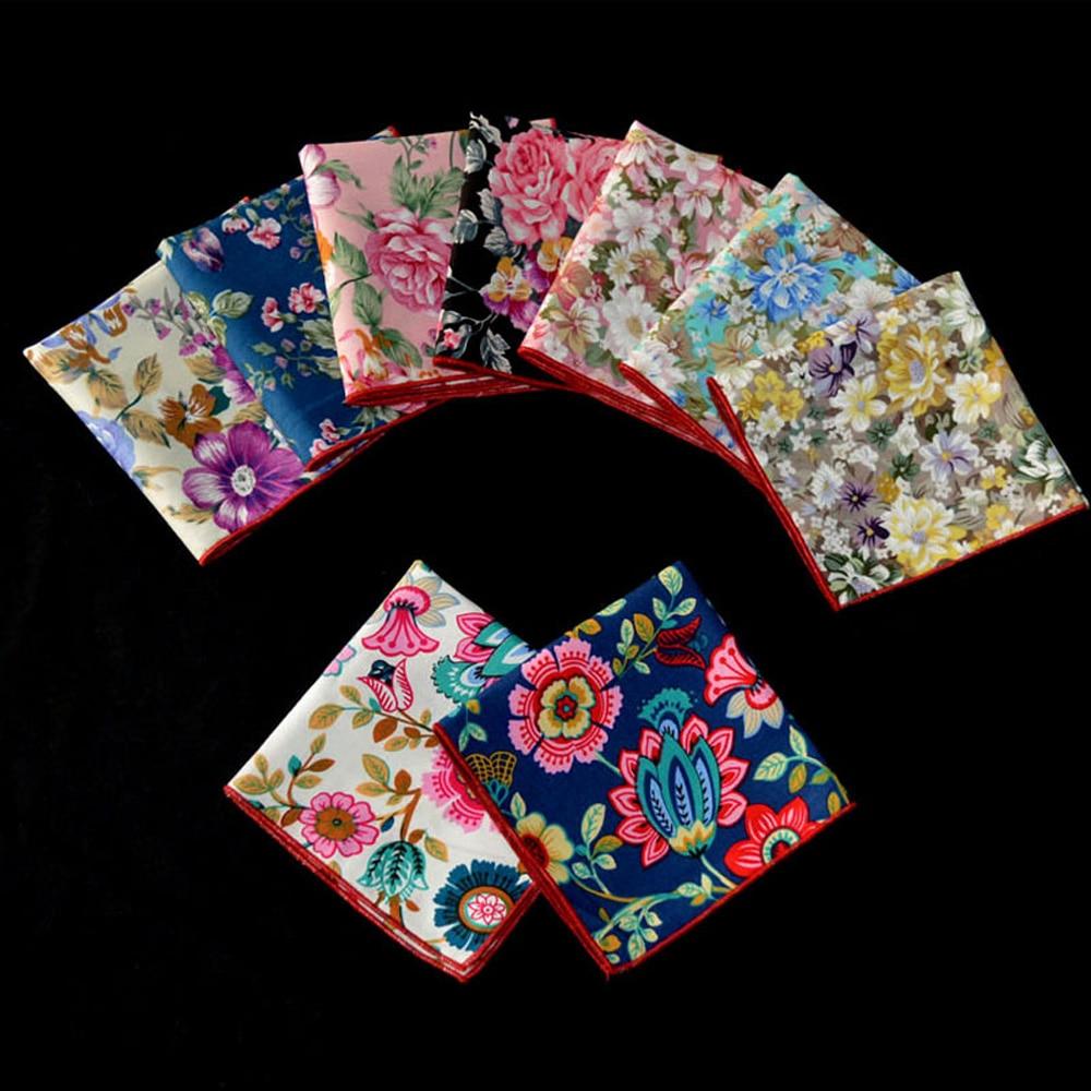 9 PCS Men's Accessories Colorful Floral Printed Handkerchief Pocket Square Hanky BWTYX0320A