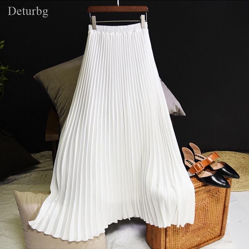 Женская модная плиссированная длинная юбка средней длины, Женская Корейская повседневная юбка с высокой талией, Jupe Faldas 10 видов цветов, весна 2019|Юбки|   | АлиЭкспресс