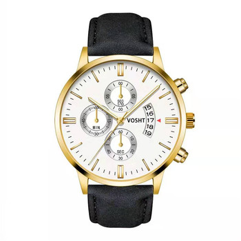 Simple Sport Stainless Steel Case Leather Band Watch 4
