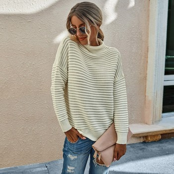 Womens Sweater Blouse Autumn Winter Female Solid Color High Neck Long Sleeve Casual Pullover Tops