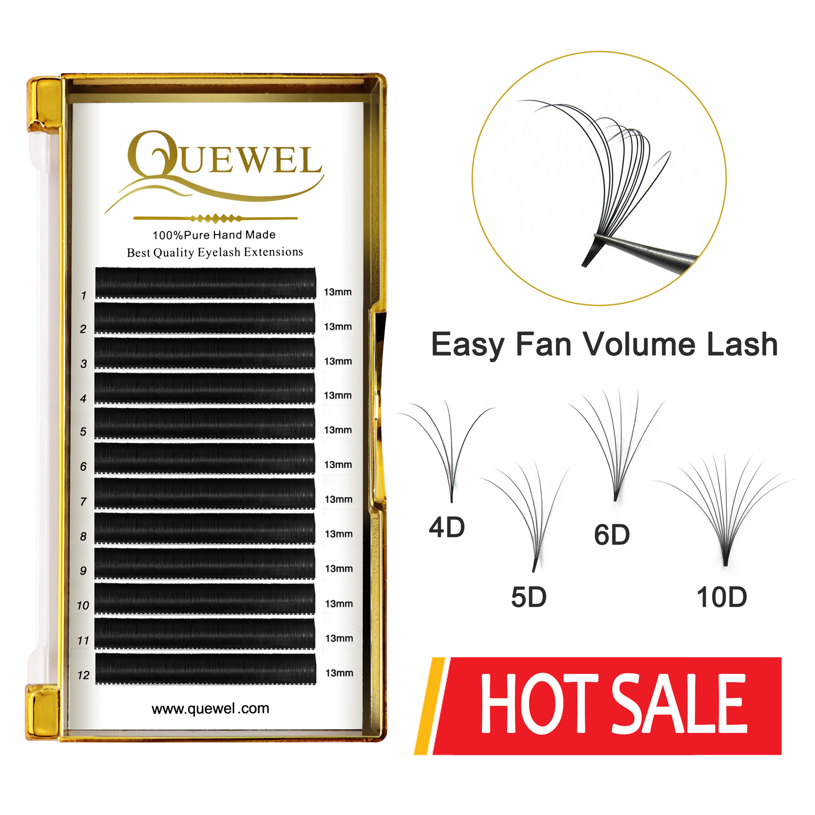 Quewel Easy Fan, объемные ресницы для наращивания, цветущие ресницы, самостоятельное изготовление, быстро растущие веерные ресницы, толстые ресни...