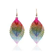 цена на YuYiJia Double Leaves Drop/Dangle Earrings Simple Retro Two-Tone Alloy Leaves Earrings Ear Pendant Ornament