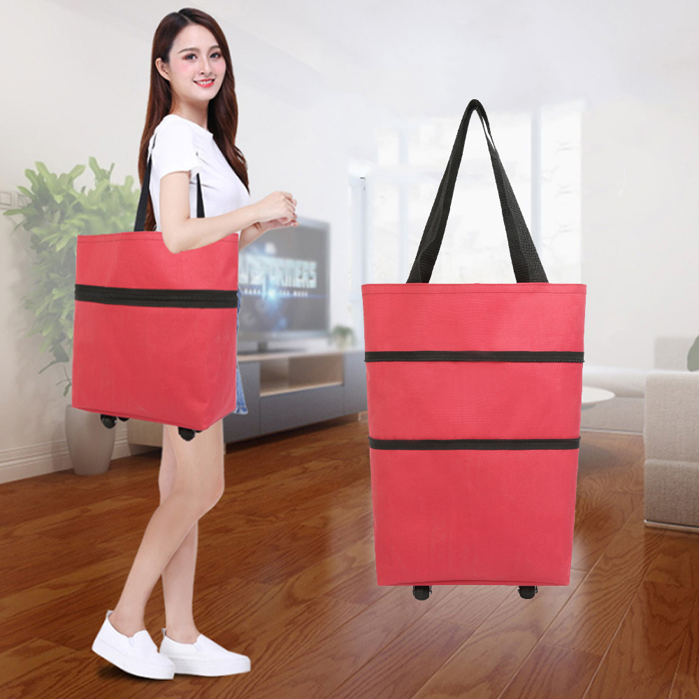 Folding Shopping Pull Cart Trolley Bag Wheels Foldable Shopping Bags Reusable Grocery Bags Food Organizer Vegetables Bag X51C