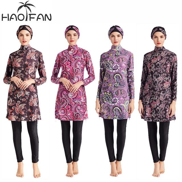 HAOFAN Women Printing Floral Muslim Swimwear Hijab Muslimah Islamic Swimsuit Swim Surf Wear Sport Burkinis