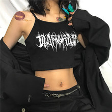 Crop-Top Gothic Clothes HALTER Shirt Camis Harajuku Black Sexy Women Ladies Sleeveless