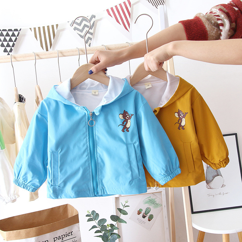 New Style BOY'S Girls' Wind Coat Childrenswear Spring Fashion Children Zipper Cat And Mouse Printed Cute Coat