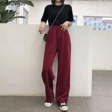 Pantalones informales de verano para mujer, pantalón largo holgado con botones, cintura alta, liso, negro Borgoña, estilo coreano