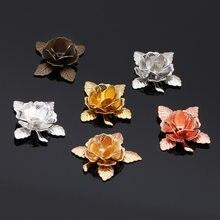 Tapas en forma de flor con cuentas, abalorios de filigrana, materiales de cobre para pendientes, broche, fabricación de joyería, DIY, chapado en oro, 20mm, 10 Uds.