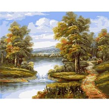 Frame Country Road Scenery Pictures By Numbers Hand Painted Canvas Oil Paintings Digital Acrylic Painting