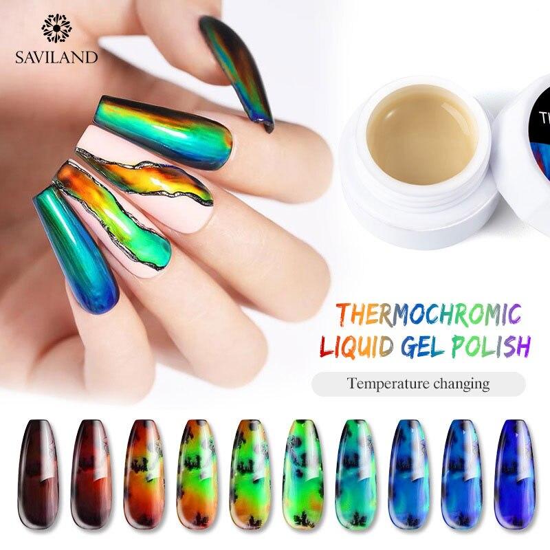 SAVILAND Thermal Sensitive Liquid Auroras Nail Touch Omber Color Changing Nails Paint Gel Nail Art Black Base Gel Nail Polish
