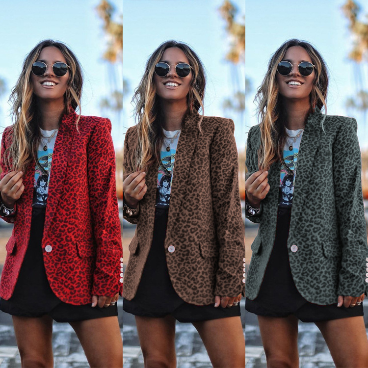 Women Autumn Winter Blazers Coat Leopard Printed Single Button Casual Cardigan Long Sleeve Blazer Daily Wear Blazer Feminino