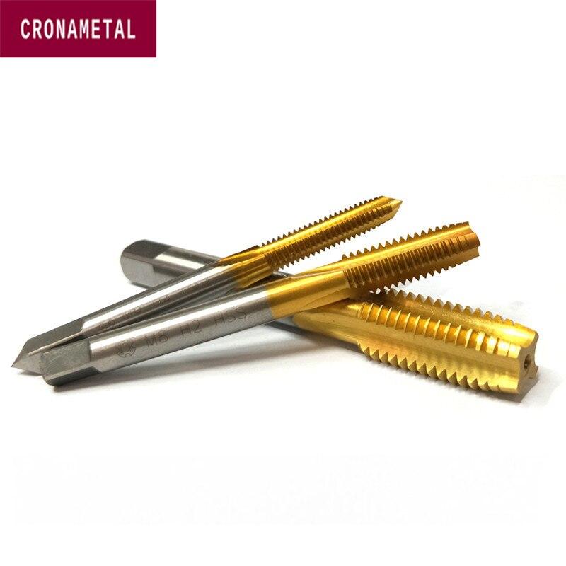 M12 M2-M20 Right Hand HSS-E Cobalt TiN Coated Machine Thread Plug Tap Straight Flute
