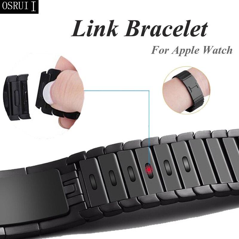 Pulseira para apple watch 4 correa iwatch banda 5 44mm 40mm 42mm 38mm 3 316l aço inoxidável link pulseira relógio acessórios