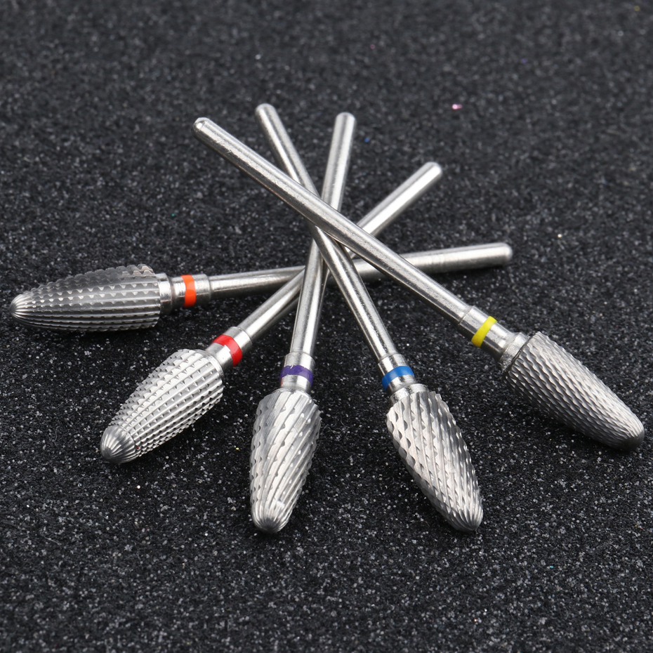 Free Ship°30 Type Silver Welded Tungsten Nail Drill Bit Flame Cutters For Manicure Cuticle Cleaner