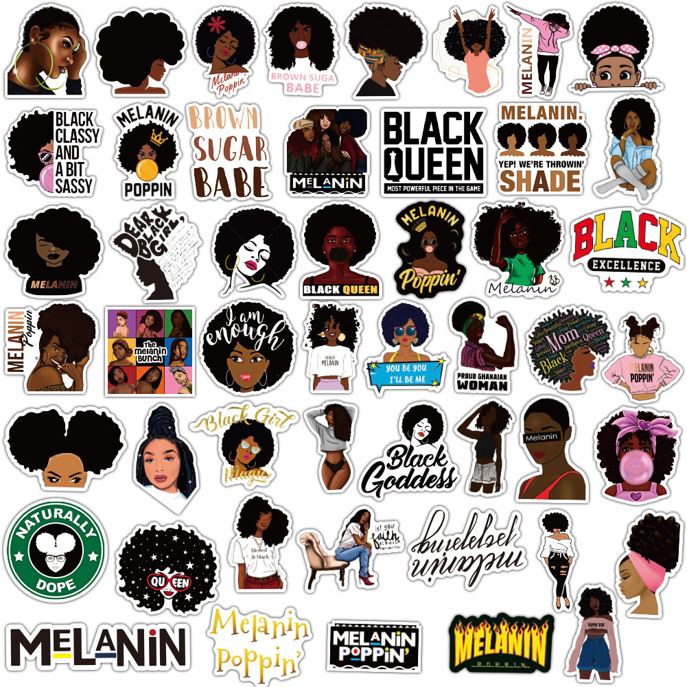 50PCS Fashion Inspirational Melanin Poppin Black Girl Sticker For DIY Luggage Laptop Skateboard Motorcycle Decal Stickers