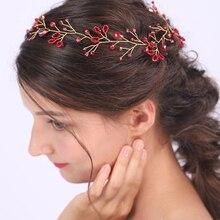Banquet-Ornaments Headwear Bridal-Shower Jewelry Hair Wedding Minimalist Crystal Red