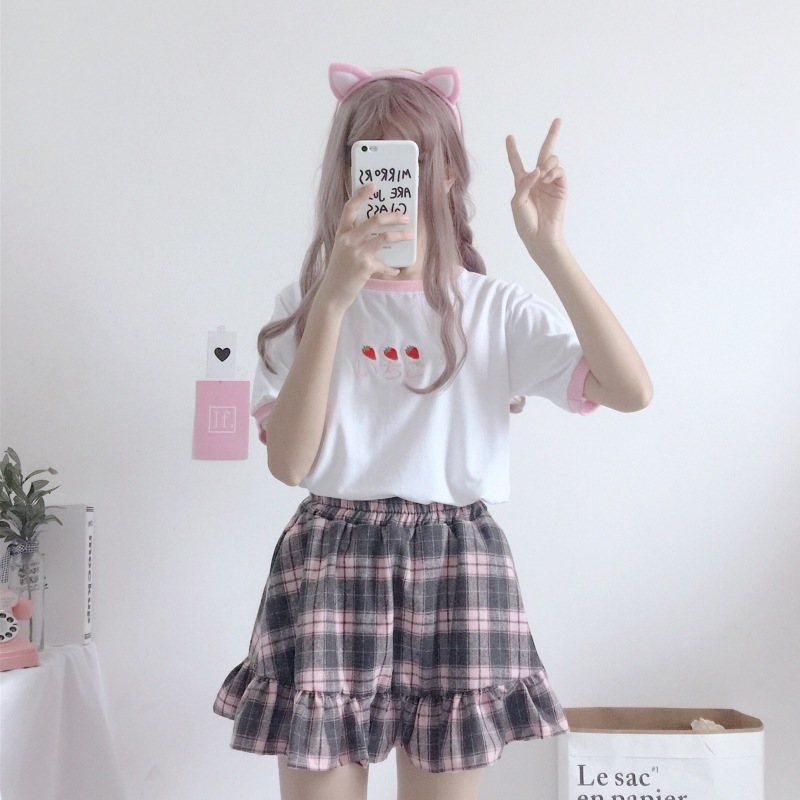 Japanese-style Soft Girl Students Cute Strawberry Embroidered Short Sleeve T-shirt Tops + Plaid Skirt Short Skirt Two-Piece Set