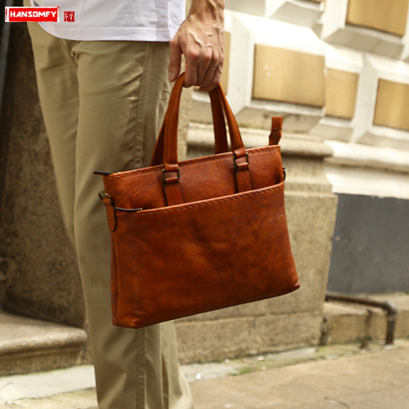 Genuine Leather Men's Bag Handbag Business Male Briefcase 14 Inch Computer Bag Men Retro Cross Section Shoulder Messenger Bags