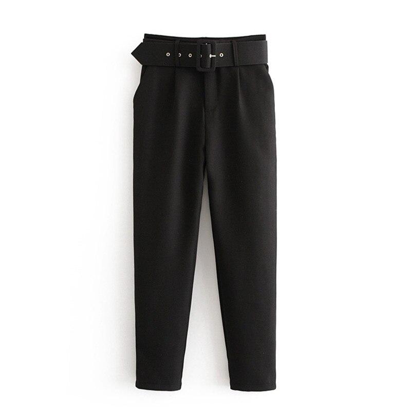 Office Lady Black Suit Pants With Belt Women High Waist Solid Long Trousers Fashion Pockets Pants Trousers Pantalones