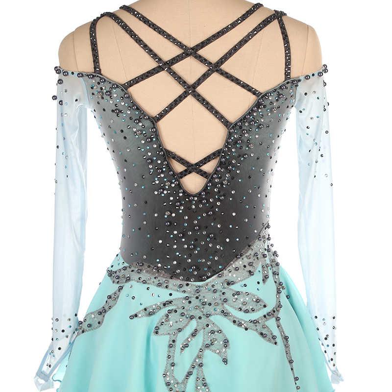 Платье для фигурного катания под заказ для соревнований по фигурному катанию юбки для конькобежцев для девочек, для девочек, для детей, для гимнастики, серый градиент